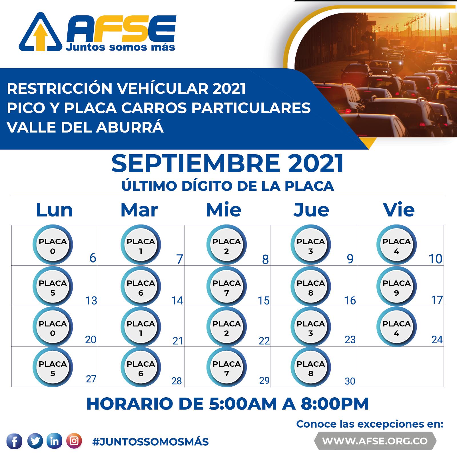 Pico y placa en el Valle del Aburrá a partir 6 de septiembre 2021